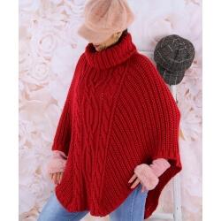 Poncho pull laine alpaga grande taille ELODY Rouge Poncho femme