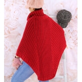 Poncho pull laine alpaga grande taille ELODY Rouge Poncho femme