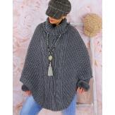 Poncho pull cape laine alpaga grosse maille hiver gris foncé  ELODY
