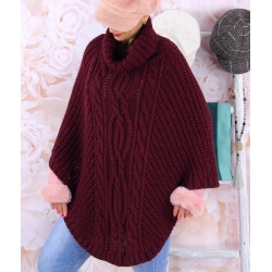 Poncho pull laine alpaga grande taille ELODY Bordeaux Poncho hiver femme