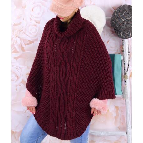 Poncho pull laine alpaga grande taille ELODY Bordeaux Poncho hiver femme