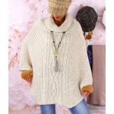 Poncho pull cape laine alpaga grosse maille hiver beige  ELODY