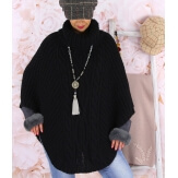 Poncho pull cape laine alpaga grosse maille hiver noir  ELODY