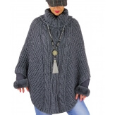 Poncho laine alpaga grosses mailles Gris ELODIE