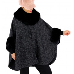 Cape manteau grande taille fourrure noire LYA