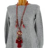 Sautoir long bohème perles verre pompons C107 Bijoux fantaisie