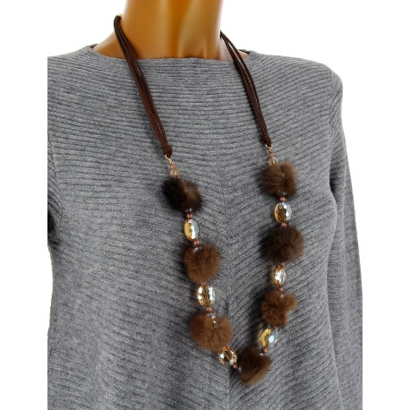 Sautoir long bohème perles pompons C111