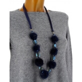 Sautoir long bohème perles pompons C114