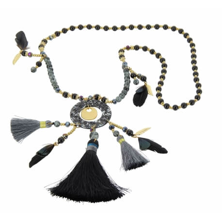 Sautoir long bohème perles verre pompons C110 Bijoux fantaisie