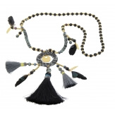 Sautoir long bohème perles verre pompons C110