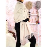 Écharpe châle étole laine hiver BAIKA champagne