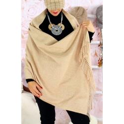 Écharpe châle étole laine hiver BAIKA Taupe clair Écharpe laine femme