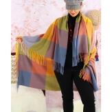 Châle étole hiver carreaux HECTOR Jaune-Étole femme-CHARLESELIE94
