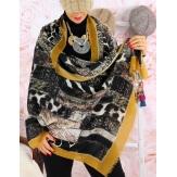 Écharpe foulard patchwork CALVADOS moutarde