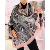 Écharpe foulard patchwork CALVADOS rose