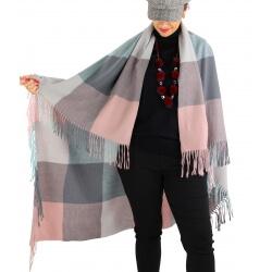 Châle étole hiver carreaux HECTOR Rose-Étole femme-CHARLESELIE94