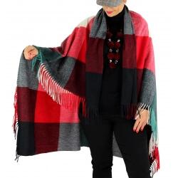 Châle étole hiver carreaux HECTOR Rouge-Étole femme-CHARLESELIE94