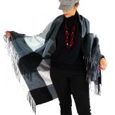 Châle étole hiver carreaux HECTOR noir