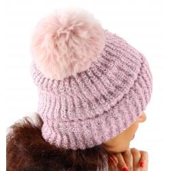 Bonnet hiver pompon fourrure MARCELINE rose