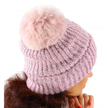 Bonnet hiver pompon fourrure MARCELINE Rose-Bonnet femme-CHARLESELIE94