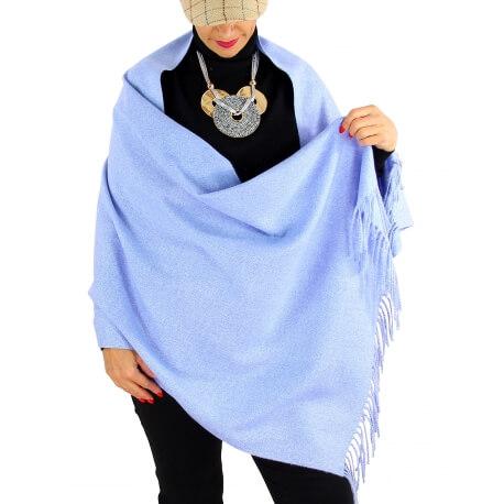 Écharpe châle étole laine hiver aqua BAIKA