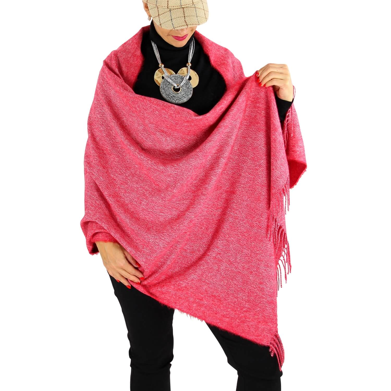 plus près de commercialisable plus de photos Écharpe châle étole laine hiver BAIKA framboise