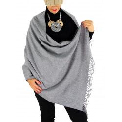 Écharpe châle étole laine hiver BAIKA gris clair