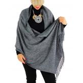 Écharpe châle étole laine hiver BAIKA gris foncé