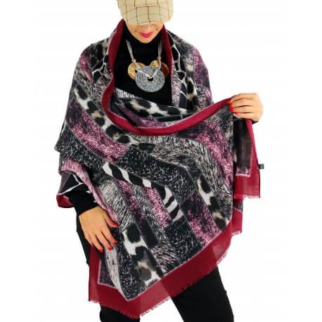 Écharpe foulard patchwork CALVADOS bordeaux