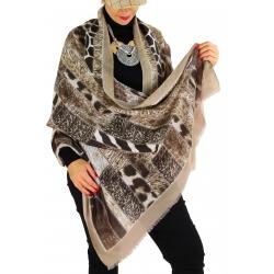 Écharpe foulard patchwork CALVADOS taupe