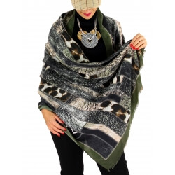 Écharpe foulard patchwork CALVADOS kaki