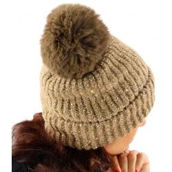 Bonnet hiver pompon fourrure MARCELINE camel