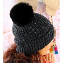 Bonnet hiver pompon fourrure MARCELINE Noir Bonnet femme