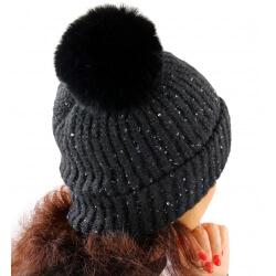 Bonnet hiver pompon fourrure MARCELINE noir
