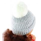 Bonnet hiver pompon fourrure MARCELINE gris