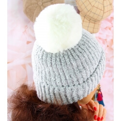 Bonnet hiver pompon fourrure MARCELINE Gris Bonnet femme