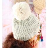 Bonnet hiver pompon fourrure MARCELINE beige
