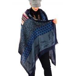 Écharpe foulard femme AUVERGNE bleu