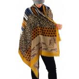 Écharpe foulard femme AUVERGNE moutarde