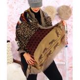 Écharpe foulard femme AUVERGNE beige