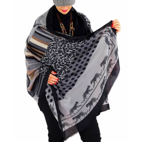 Écharpe foulard femme AUVERGNE noir