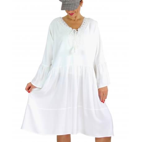 Robe bohème dentelle pompons volants METEO blanc