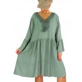 Robe femme grande taille dentelle METEO Kaki-Robe femme-CHARLESELIE94