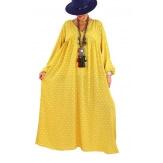 Robe longue grande taille liberty CAPELLA moutarde