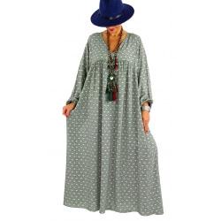 Robe longue grande taille liberty CAPELLA kaki