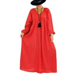 Robe longue grande taille liberty CAPELLA rouge