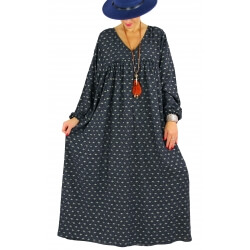 Robe longue grande taille liberty CAPELLA noir