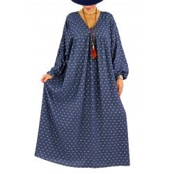 Robe longue grande taille liberty CAPELLA bleu