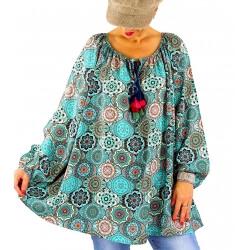 Tunique blouse grande taille bohème pompons NEMBUS vert