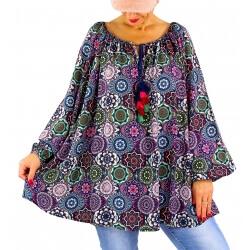 Tunique blouse grande taille bohème pompons NEMBUS bleu